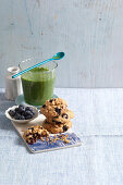 Breakfast cookies and a cucumber smoothie