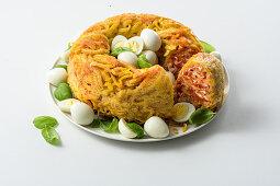 Tagliolini timbale with quail's eggs