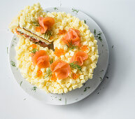 Salty mimosa cake with smoked salmon