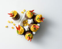Chocolate eggs filled with an egg and mascarpone cream