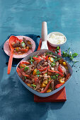 Quick fried peppers and steak