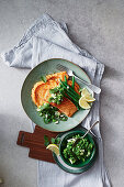 Salmon with sweet potato mash and minted gremolata