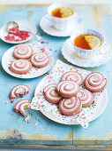 Strawberry and cream roly-polys