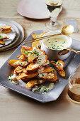 Roast Kipfler potatoes with blue cheese sauce