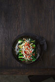 Loaded Asian greens with sprouts and chilli