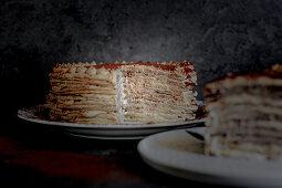 Pancake cake with mascarpone coffee cream