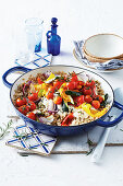 Mediterranean barley risotto with vegetable