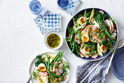 Broccolini and bean chicken salad with pistachio dressing
