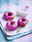 Watermelon-glazed doughnuts with minted pistachio crush