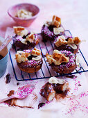 Monkey doughnuts with banana chips and waffles