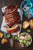 Caramelised rum-glazed pork ribs
