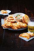 Sweet potato scallpos with spiced sour cream