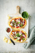 Spiced beef cauliflower pizza