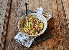 Endive and potato salad with ham