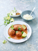 Courgette kofta in a curry sauce