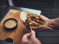 Grilled sate skewers with peanut sauce