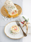 Spicy Bouche de Noel with salmon and dill