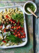 Roast vegetable pasta salad with pesto