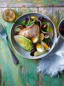 Roast salmon salad nicoise with French vinaigrette