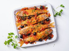 Red mullet in puttanesca sauce