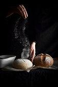 Sprinkling Flour on Sourdough