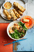 Veggie bun cha and baked spring rolls (Vietnam)