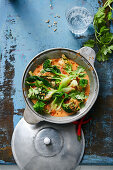 Red vegetable curry with bok choy and broccoli on rice (Asia)