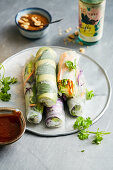 Summer rolls with vegetables and herbs with hoisin and peanut sauce (Vietnam)