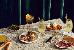 Capsicum with buffalo mozzarella, Tuna Crudo and Cocktails