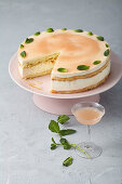 Almond sponge cake with buttermilk panna cotta