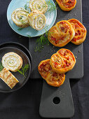 Pancake and feta rolls, chorizo bread snails