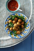 Falafel with a tomato dip