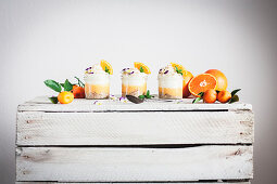 Orange mousse with biscuits