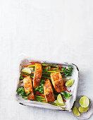 Easy Asian salmon tray bake