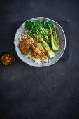 Sticky soy chicken with garlic rice and sesame sprinkle