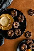 Dark chocolate cookies with sea buckthorn jam