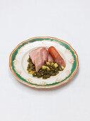 Kale with Mettwurst (smoked pork sausage) and gammon