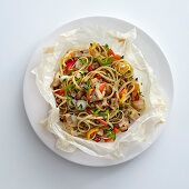 Linguine with cod, bacon and mixed vegetables