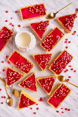 Tartlets with pink pomegranate jelly
