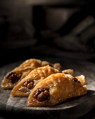 Turkish baklava with walnuts in a dark rustic style