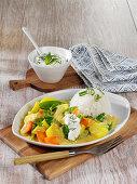 'Coco Jumbo' potato curry with a creamy yoghurt