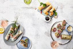 Summer rolls – vegetarian, salmon and pastrami