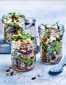 Lentil, fetta and beetroot salad 'to go'