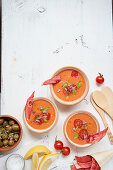 Melon and tomato gazpacho with lemon and olive oil