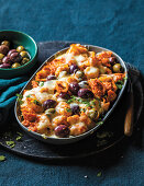 Red pepper pesto pasta with olives