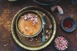 Rose and saffron chai tea