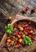 Rosehips in a wooden bowl