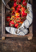Rose hips in wooden box