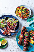 Korean BBQ steak with kiwi topping, Chicken espetadas, Grilled mielie and pepper salad