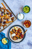 Fajitas with marinated chicken and roasted peppers